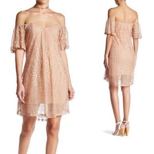 SKY NWT Nude Lace Embroidered Flutter Sleeve Dress